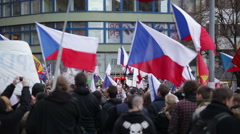 Demonstration against Islam and refugees in Prague Stock Footage