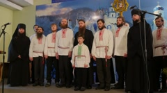 Men in National Clothes Clergy at Lavra Christmas Celebration Men Boy in Shirts - stock footage