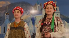 Women at Holy Mountains Lavra Folk Clothes Women Girls Are Singing Christmas - stock footage
