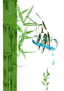 Bamboo shoots and a glass of clean water - stock illustration