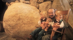 Grandpa With Grandkids In Rocking Chair Stock Footage