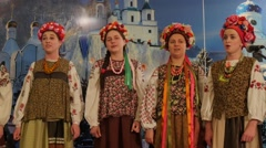 Cathedral Holy Mountains Lavra Female Chorus Performing Christmas Songs - stock footage
