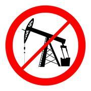 oil pump jack silhouette prohibition sign - stock illustration