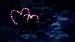 hearts pink star night - stock footage