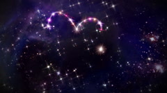 hearts pink star space camera rotation - stock footage