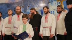Men at Holy Mountains Lavra Christmas Celebration Men With Beards Clergy Boys - stock footage