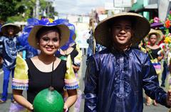 Stock Photo of Yellow Sleeve Street Cultural Dancers