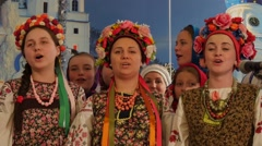 Women Man Kids in National Clothes Cathedral Dormition Holy Mountains Lavra - stock footage