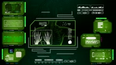 Hands  - Advanced Scanning Interface - green 01 - stock footage
