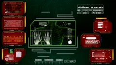 Hands  - Advanced Scanning Interface - red 01 - stock footage