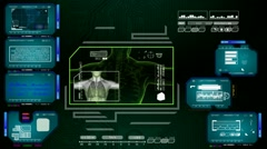 Lungs  - Advanced Scanning Interface - blue 01 Stock Footage