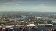 A view of Darling Harbour from the Sydney Tower Eye - stock footage