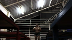 Muay Thai Boxing Fighter Warming Up Before Fight Shadowboxing Slow Motion Stock Footage