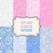 Cute baby vector seamless patterns. Endless texture Stock Illustration