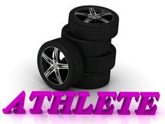 ATHLETE- bright letters and rims mashine black wheels on a white background Stock Illustration