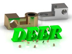 DEER - words of color letters and silver details and bronze details on white Stock Illustration