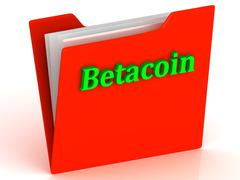Betacoin- bright green letters on a gold folder on a white background - stock illustration