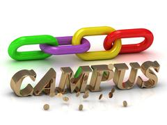 CAMPUS- inscription of bright letters and color chain on white background Piirros