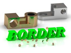 BORDER- words of color letters and silver and bronze details on white backgro - stock illustration