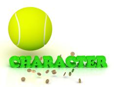 CHARACTER- bright green letters, tennis ball, gold money on white background Stock Illustration