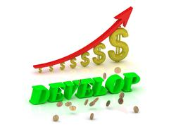 DEVELOP- bright color letters and graphic growing dollars and red arrow on a - stock illustration