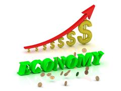 ECONOMY- bright color letters and graphic growing dollars and red arrow on a - stock illustration