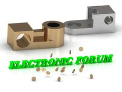 ELECTRONIC FORUM - words of color letters and silver details and bronze detai Stock Illustration