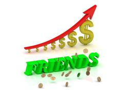 Stock Illustration of FRIENDS- bright color letters and graphic growing dollars and red arrow on a
