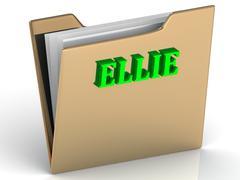 ELLIE- bright green letters on gold paperwork folder on a white background - stock illustration