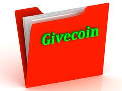 Givecoin- bright green letters on red paperwork folder witch paper list on a - stock illustration
