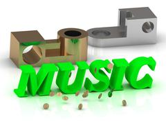 MUSIC- words of color letters and silver details and bronze details on white Stock Illustration