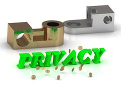PRIVACY - words of color letters and silver details and bronze details on whi - stock illustration