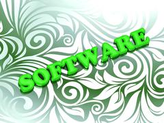 SOFTWARE- bright color letters on nice green ornament background - stock illustration