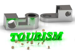 TOURISM- inscription of color letters and silver details on white backgroundr Stock Illustration