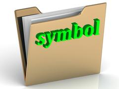 Symbol - bright green letters on a folder on a white background Stock Illustration
