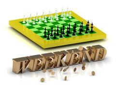 WEEKEND- bright gold letters money and yellow chess on white background Stock Illustration