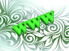 WWW- bright color letters on nice green ornament background - stock illustration