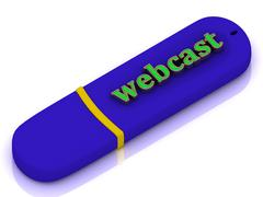 webcast - inscription bright green volume letter on blue USB flash drive on w - stock illustration