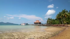 Beautiful view of the pier with ships on Koh Wai island, Thailand Stock Footage