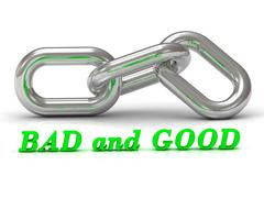 BAD and GOOD - inscription of color letters and Silver chain of the section o - stock illustration
