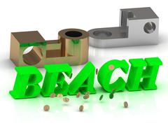 BEACH - words of color letters and silver and bronze details on white backgro Stock Illustration