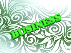 BUSINESS- bright color letters on nice green ornament background Stock Illustration