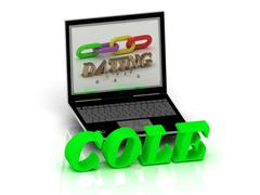 COLE- Name and Family bright letters near Notebook and  inscription Dating on - stock illustration