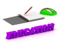 Stock Illustration of EDUCATION bright volume letter and copybook with red pen and computer mouse o