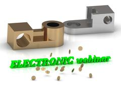 ELECTRONIC webinar - words of color letters and silver details and bronze det Stock Illustration