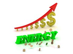 ENERGY- bright color letters and graphic growing dollars and red arrow on a w Stock Illustration