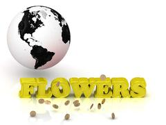 FLOWERS  bright color letters, black and white Earth on a white background Stock Illustration