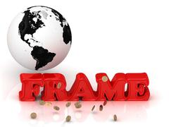 FRAME bright color letters, black and white Earth on a white background - stock illustration
