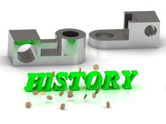 HISTORY- words of color letters and silver details on white background.. - stock illustration