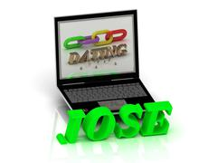 JOSE- Name and Family bright letters near Notebook and  inscription Dating on Stock Illustration